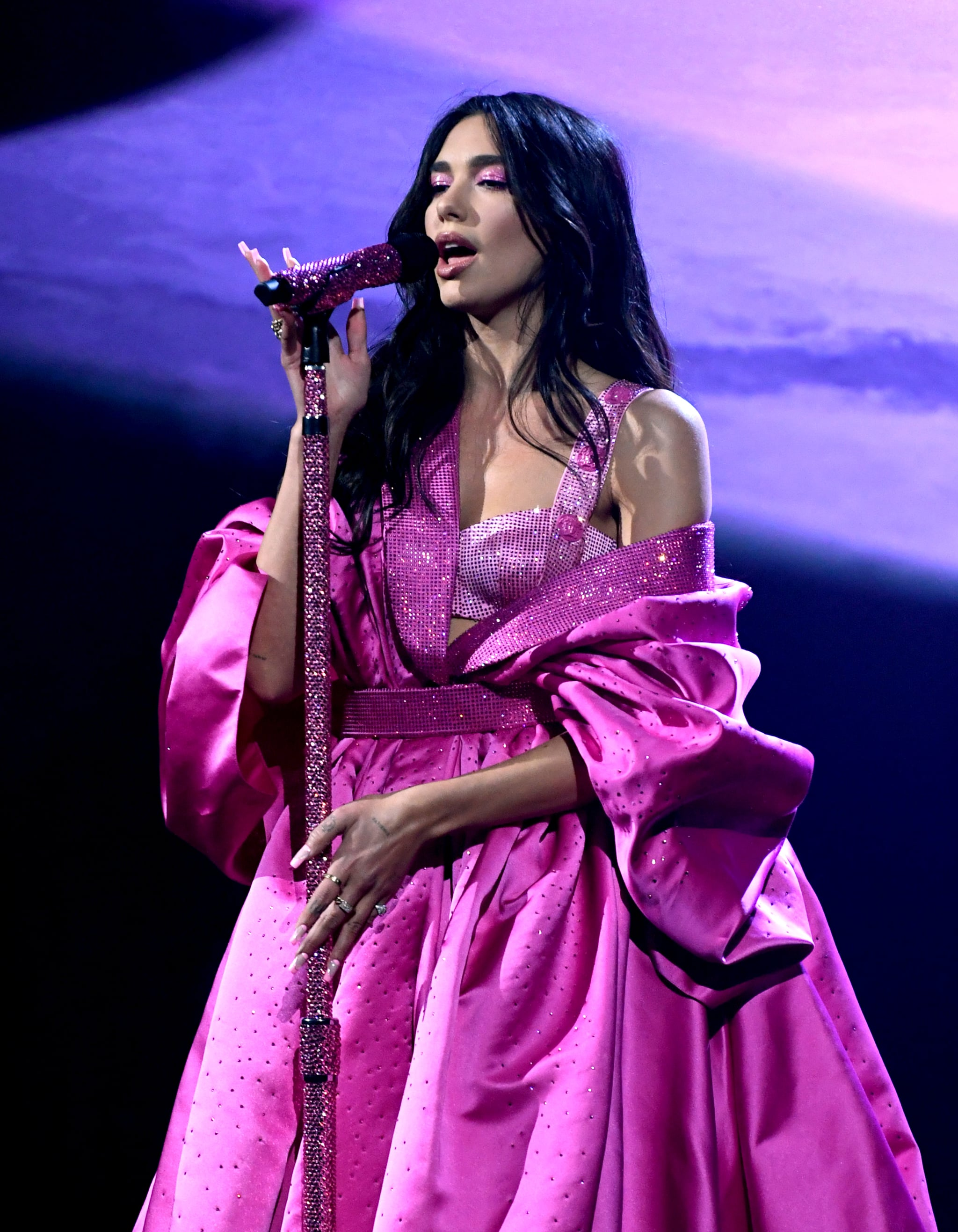 LOS ANGELES, CALIFORNIA: In this image released on March 14, Dua Lipa performs onstage during the 63rd Annual GRAMMY Awards at Los Angeles Convention Centre in Los Angeles, California and broadcast on March 14, 2021. (Photo by Kevin Winter/Getty Images for The Recording Academy)