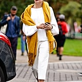 Style a Bright Scarf With an All-White Ensemble