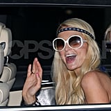 Paris Hilton gave a wave from the car in Australia.