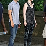 Michelle Trachtenberg's character Georgina takes the printed trend to the next level, mixing a sequin-embellished top with dark tie-dyed leggings and snakeprint Pour La Victoire pumps.