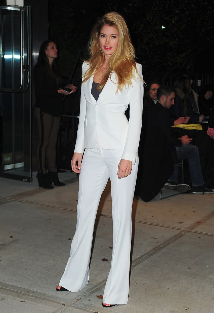 Doutzen Kroes showed not only how chic a suit can be as an alternative to the cocktail dress, but also how chic a white palette can look for Winter.