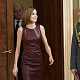 All eyes were on Letizia's toned arms during an October appearance in Madrid.