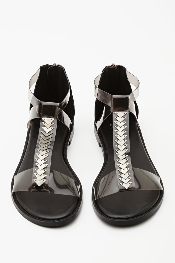 Tough embellishments and a high-shine finish make these Nasty Gal flats ($40) feel dangerous.