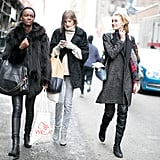 This trio stuck to the essentials: furry outerwear, enviable carry-alls, and tough-girl boots.