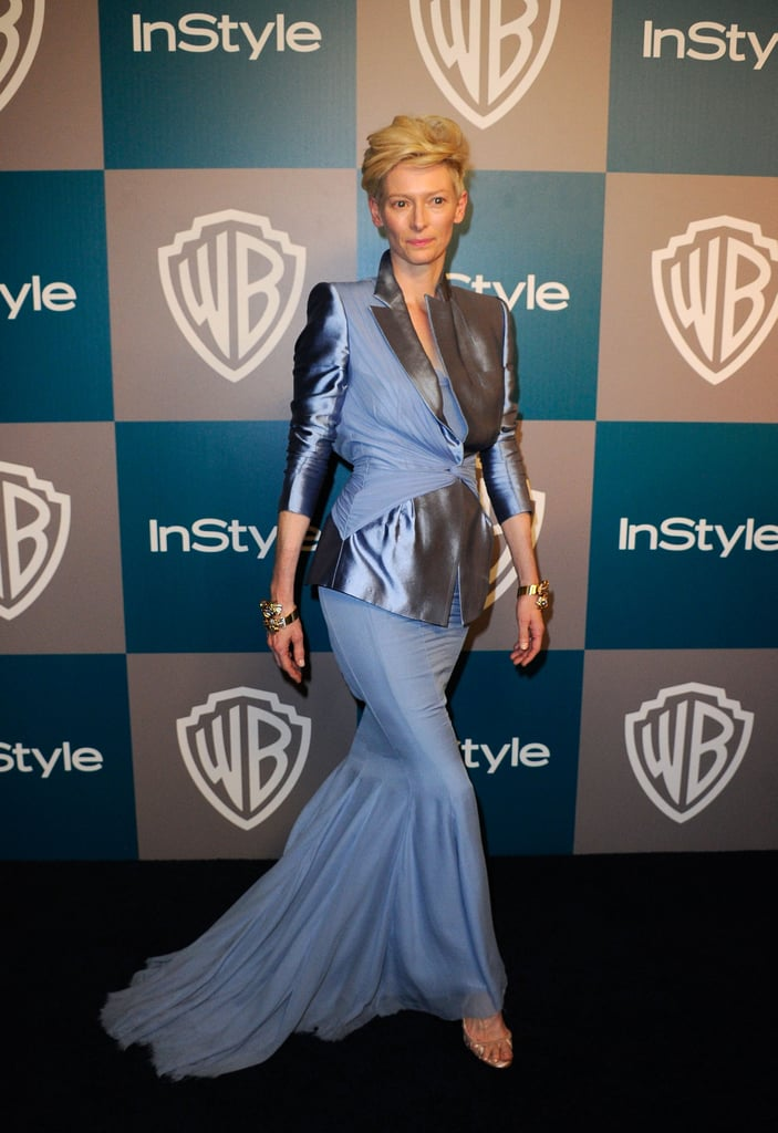 Tilda Swinton arrived at InStyle's Golden Globes afterparty.