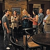 Busy Philipps, Christa Miller, Josh Hopkins, Courteney Cox, Robert Clendenin, Ian Gomez, Brian Van Holt, Dan Byrd, and Ken Jenkins on Cougar Town. Photo copyright 2012 ABC, Inc.