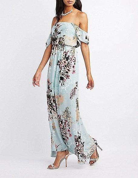 d689b876c739 Charlotte Russe Floral Ruffle Off-the-Shoulder Maxi Dress