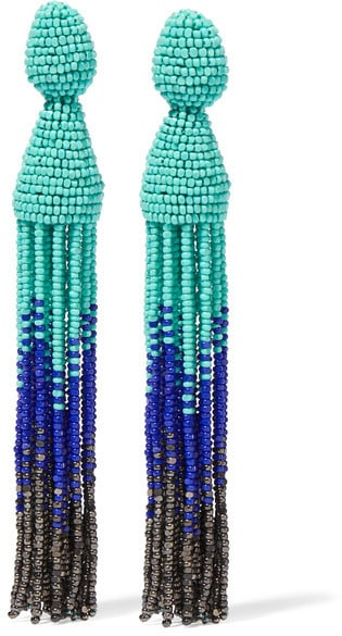 Oscar de la Renta's ombré beaded clip-on earrings ($395) are doubly awesome, thanks to the color combo and dramatic beading.