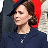 Likewise the diamond and Tanzanite necklace and earrings by G. Collins and Sons that Kate wore to a service at St. Pauls in 2015 are likely to have been a gift. The set works perfectly with Kate's engagement ring, and her favorite color is blue, so it could be that this was a personal gift from her hubby?