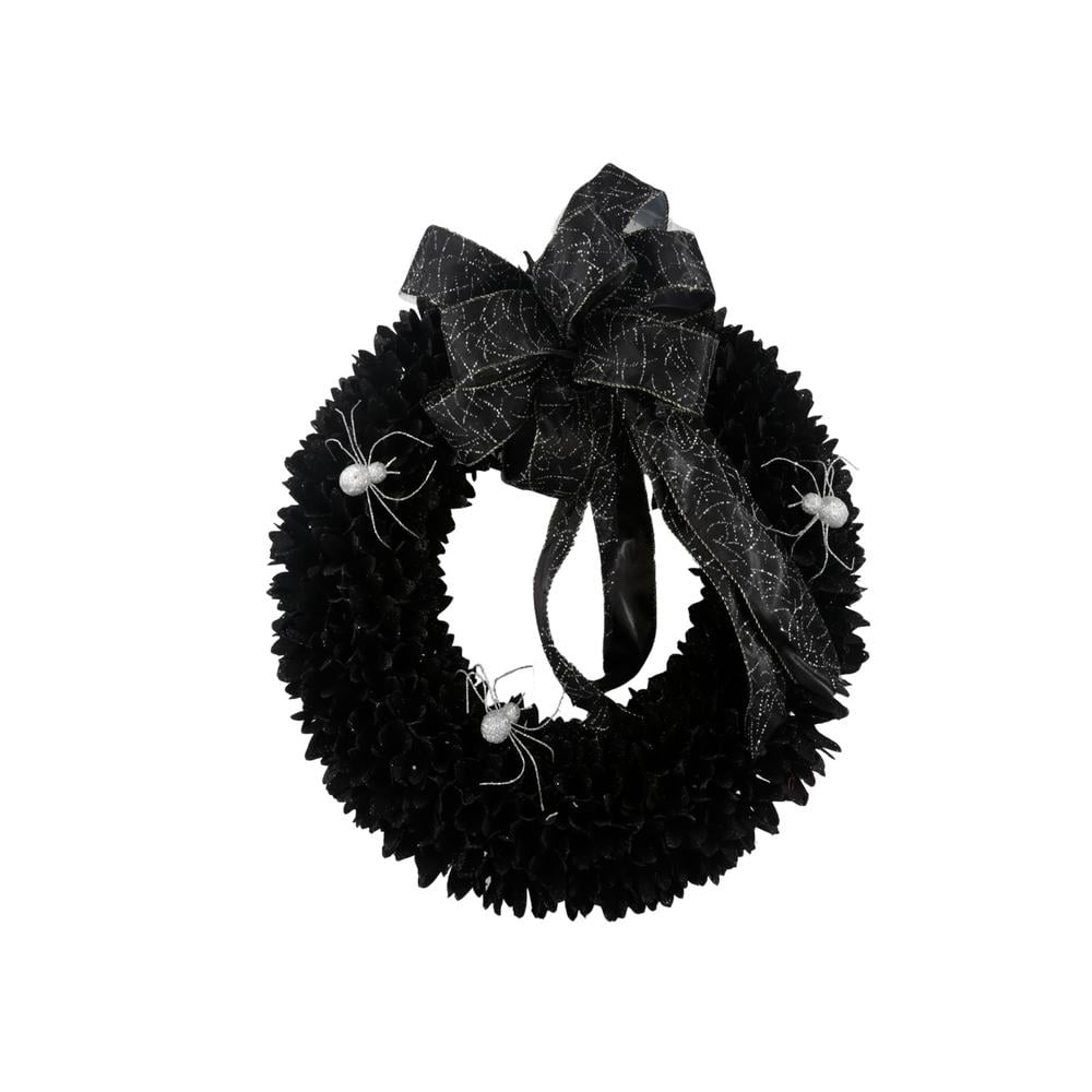 Black Wood Curl Wreath with Black Bow ($40)
