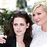 Kristen Stewart and Kirsten Dunst smiled together at the On the Road photocall at the Cannes Film Festival.