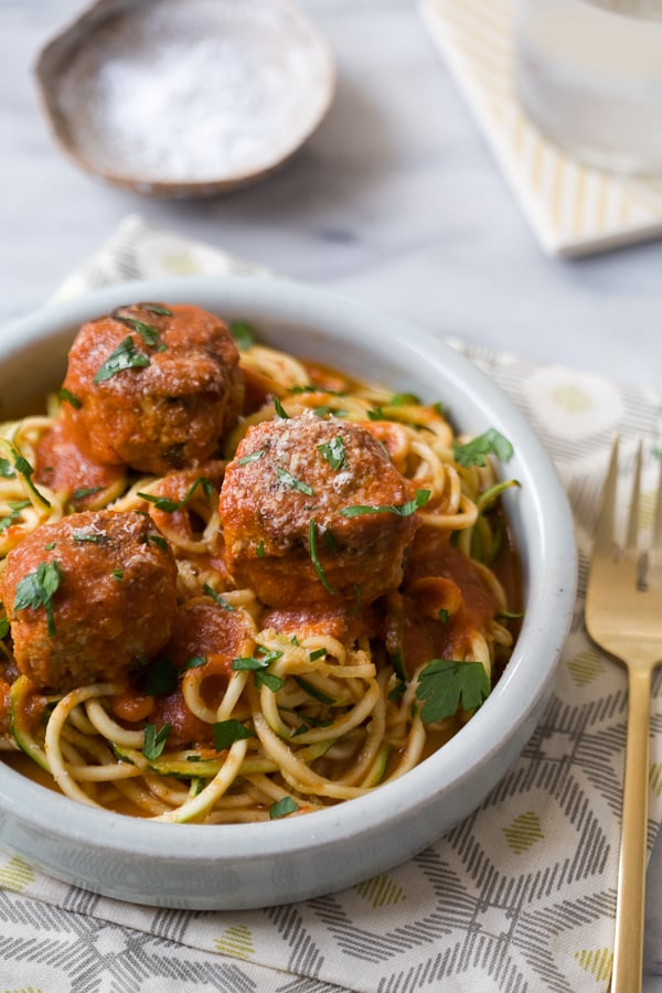 Zucchini Noodles With Meatballs
