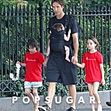 NBA star Steve Nash was able to spread his love equally among his three kids, carrying baby Matteo in a lillebaby EveryWhere Style Carrier and giving his hands to his two daughters.