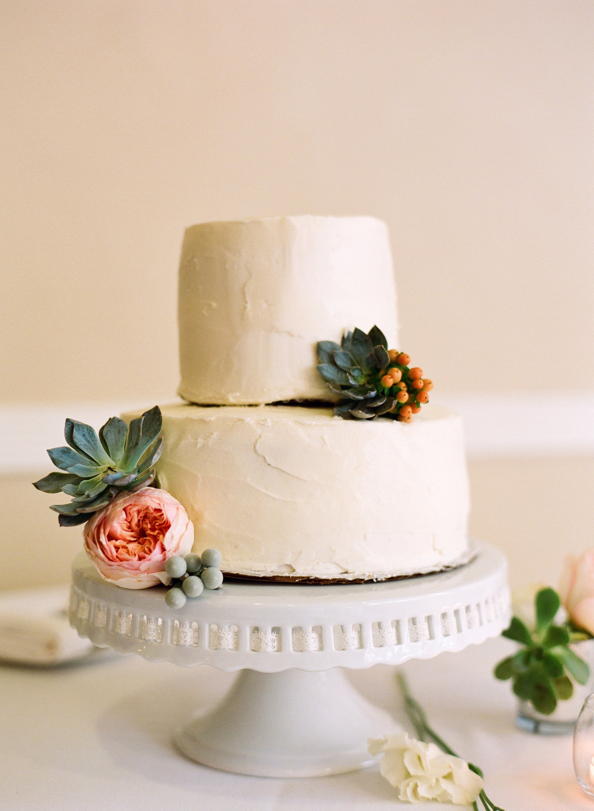 We Love How Succulents Instantly Take This Simple Two Layer Cake The Ultimate Wedding Cake Roundup 100 Showstopping Sweets Popsugar Food Photo 6