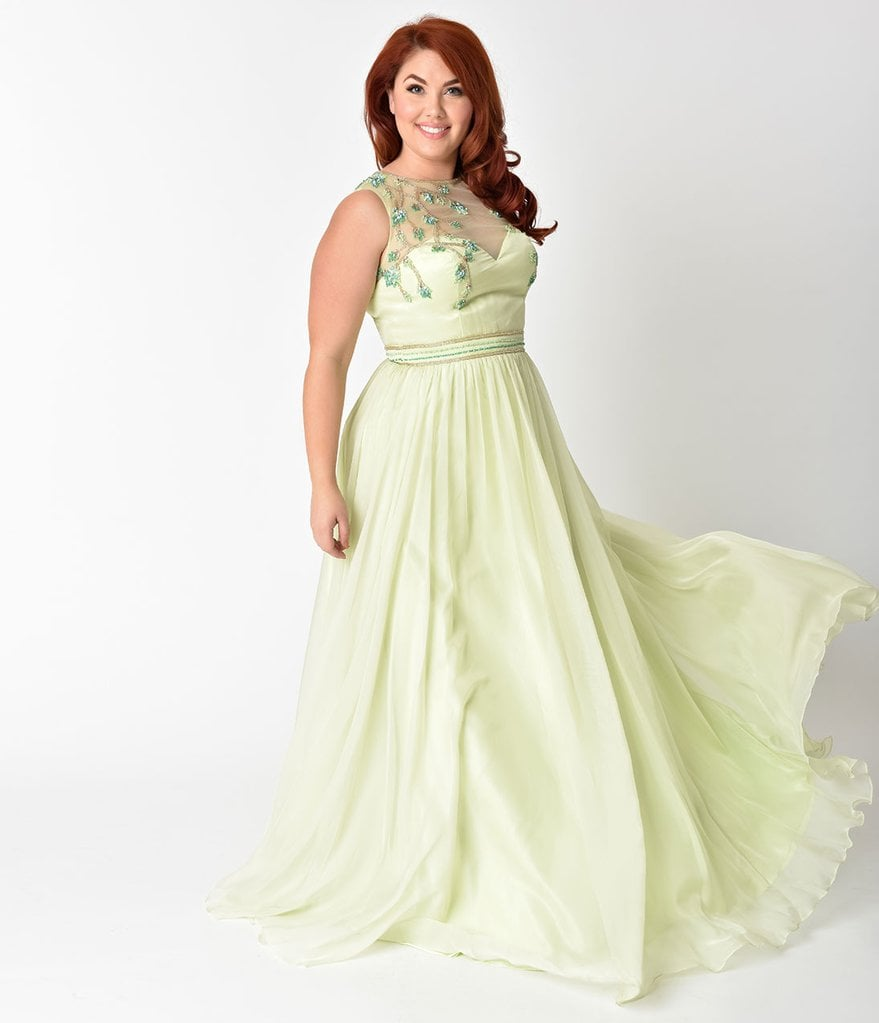 Curve Lime Green Embellished Mesh Illusion Prom Gown Let Your
