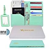 Travel Passport Wallet RFID Blocking and Luggage Tag Set
