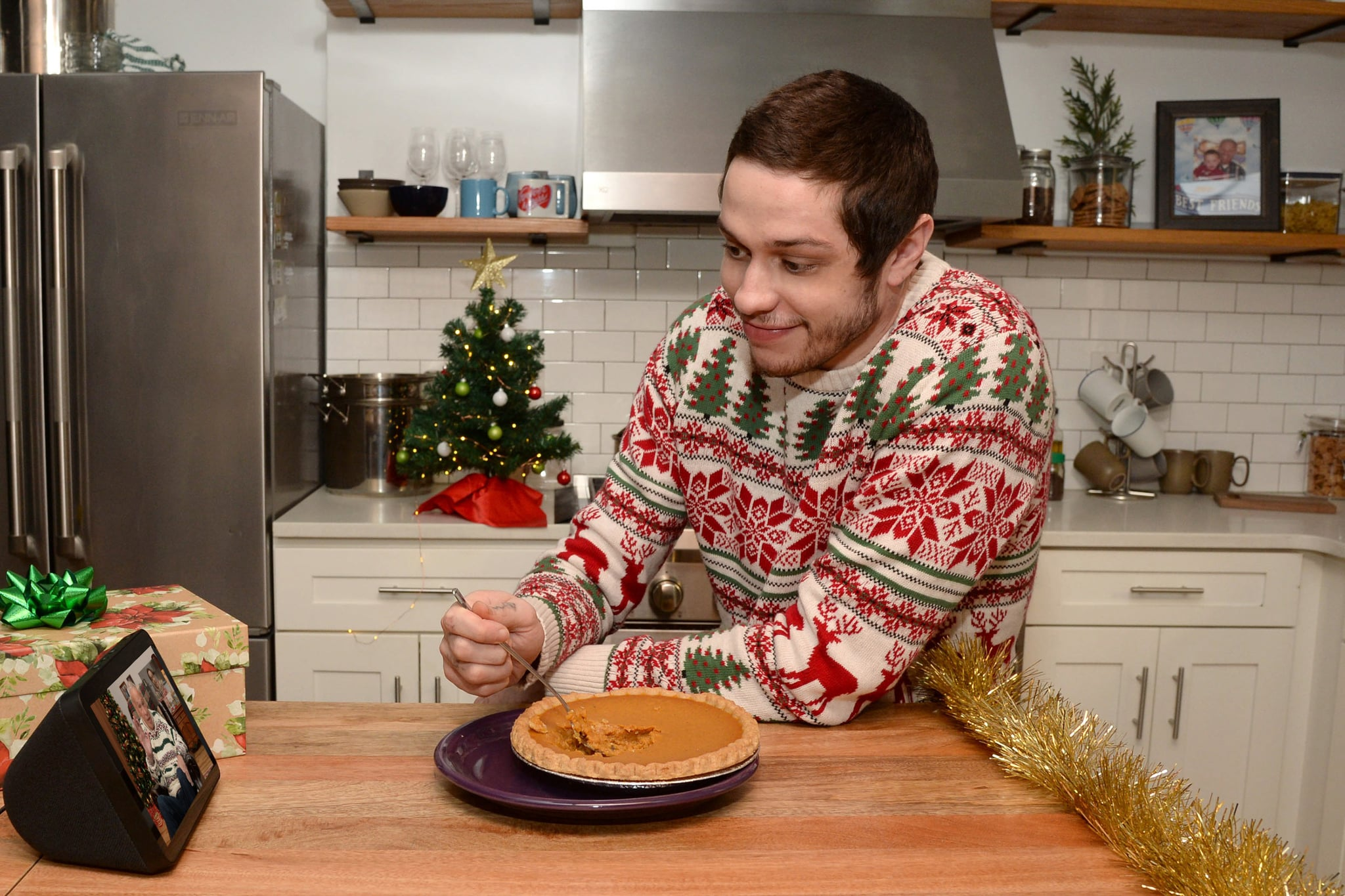 - New York, NY - 12/15/2020 - Pete Davidson and grandfather, Stephen `Poppy` Davidson, stay connected this holiday season using the Amazon Echo Show.-PICTURED: Pete Davidson-PHOTO by: Michael Simon/startraksphoto.com-MS149668Editorial - Rights Managed Image - Please contact www.startraksphoto.com for licensing fee Startraks PhotoStartraks PhotoNew York, NY For licensing please call 212-414-9464 or email sales@startraksphoto.comImage may not be published in any way that is or might be deemed defamatory, libelous, pornographic, or obscene. Please consult our sales department for any clarification or question you may haveStartraks Photo reserves the right to pursue unauthorized users of this image. If you violate our intellectual property you may be liable for actual damages, loss of income, and profits you derive from the use of this image, and where appropriate, the cost of collection and/or statutory damages.