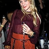Chloë Sevigny sipped Champagne at a New Year's Eve celebration in Miami Beach, FL, in 2008.