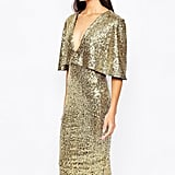Club L kimono Sleeve Midi Dress in Allover Sequin With Center Split ($81)