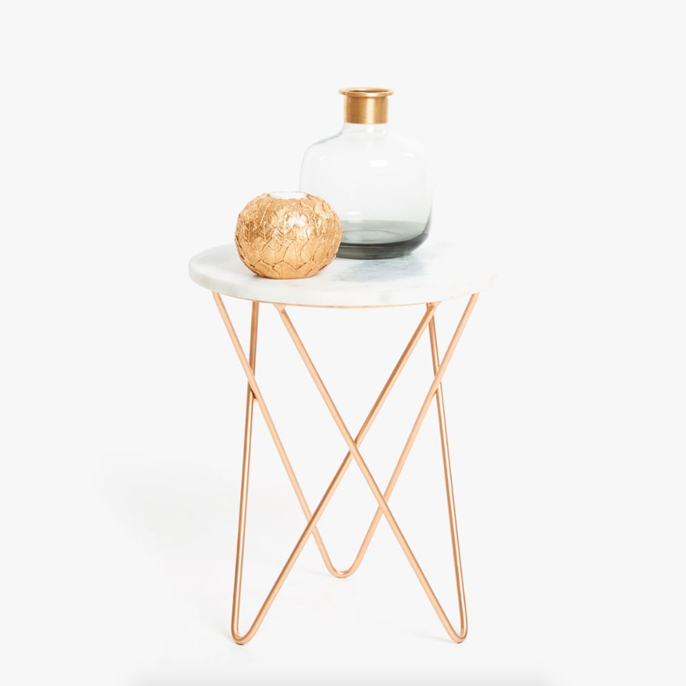 Zara Home Marble Table With Crossed Metal Legs