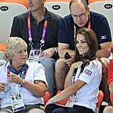 Kate chatted with Prince Albert of Monaco at a synchronized swimming event on day 13.
