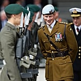 Prince Harry was all smiles at the Royal Marines Tamar naval base in Devonport, England.