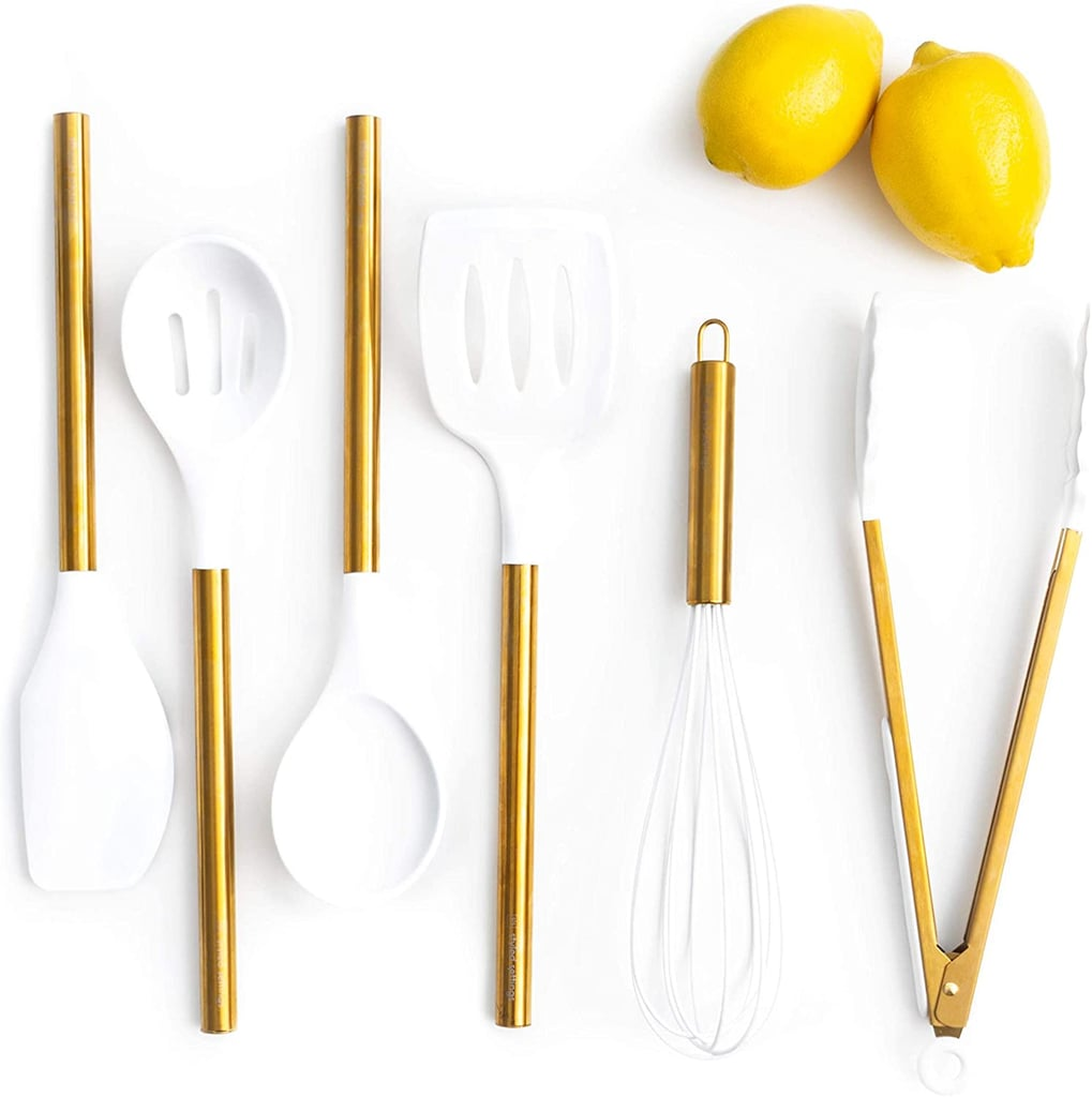 White Silicone and Gold Cooking Utensils