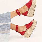 FP Collection Coastal Platform Wedge Sandals