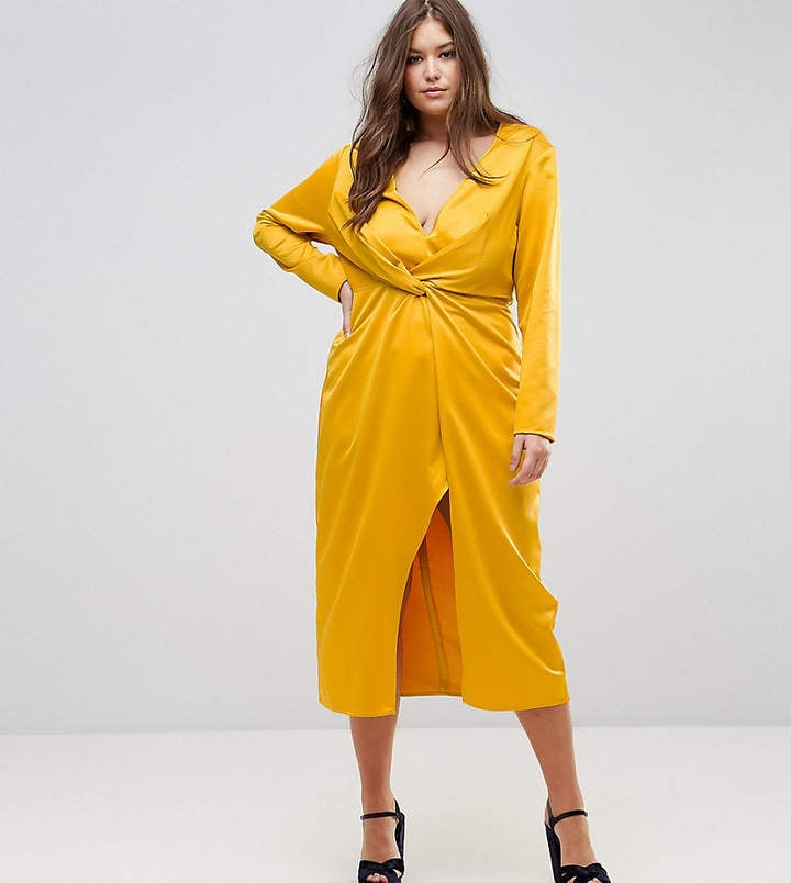Taller Than Your Average Midi Wrap Dress With Knot Front