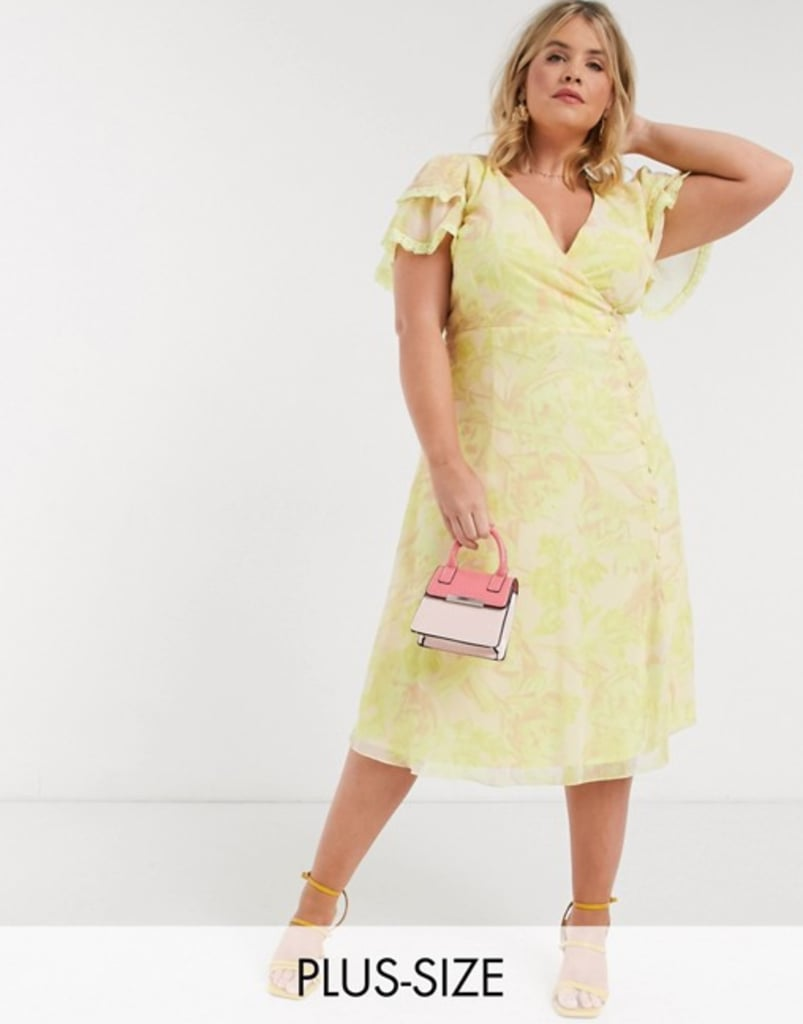 Little Mistress Plus Wrap Midi Dress in Lemon Floral