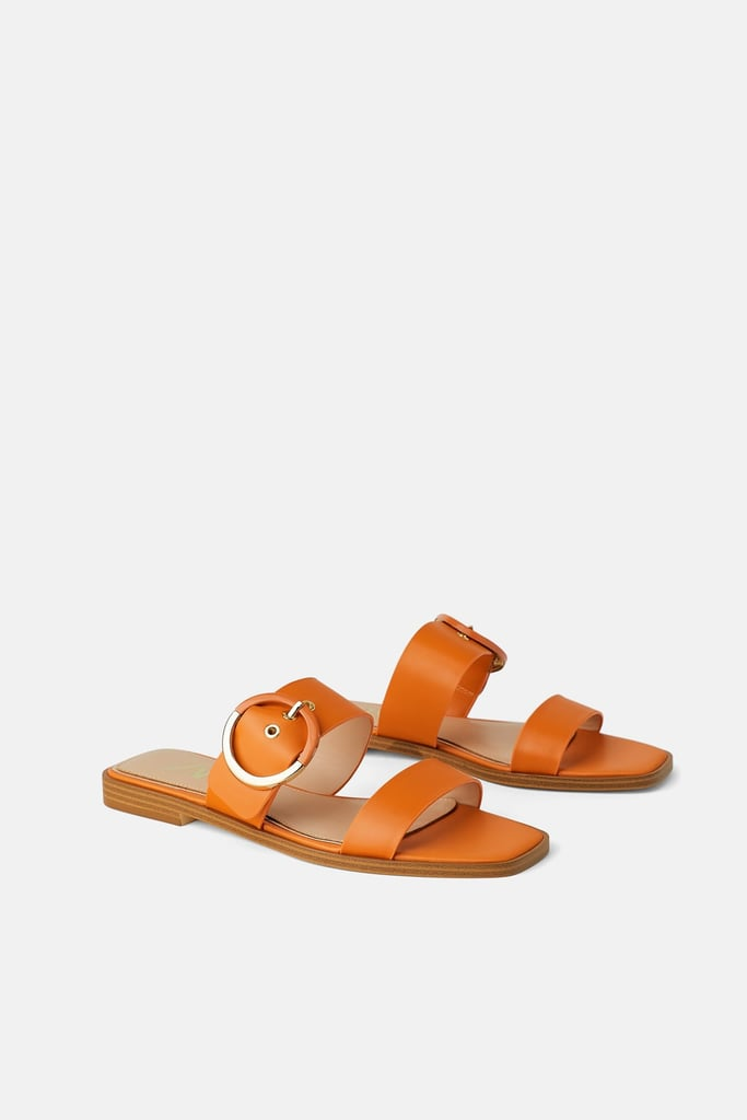 Flat Leather Sandals With Buckle | Best Zara Sandals