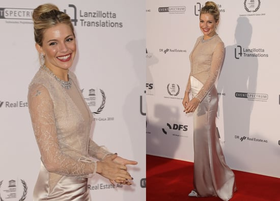 Sienna Miller works a 40s gown on the red carpet at the UNESCO Charity Gala , Germany, 2010.