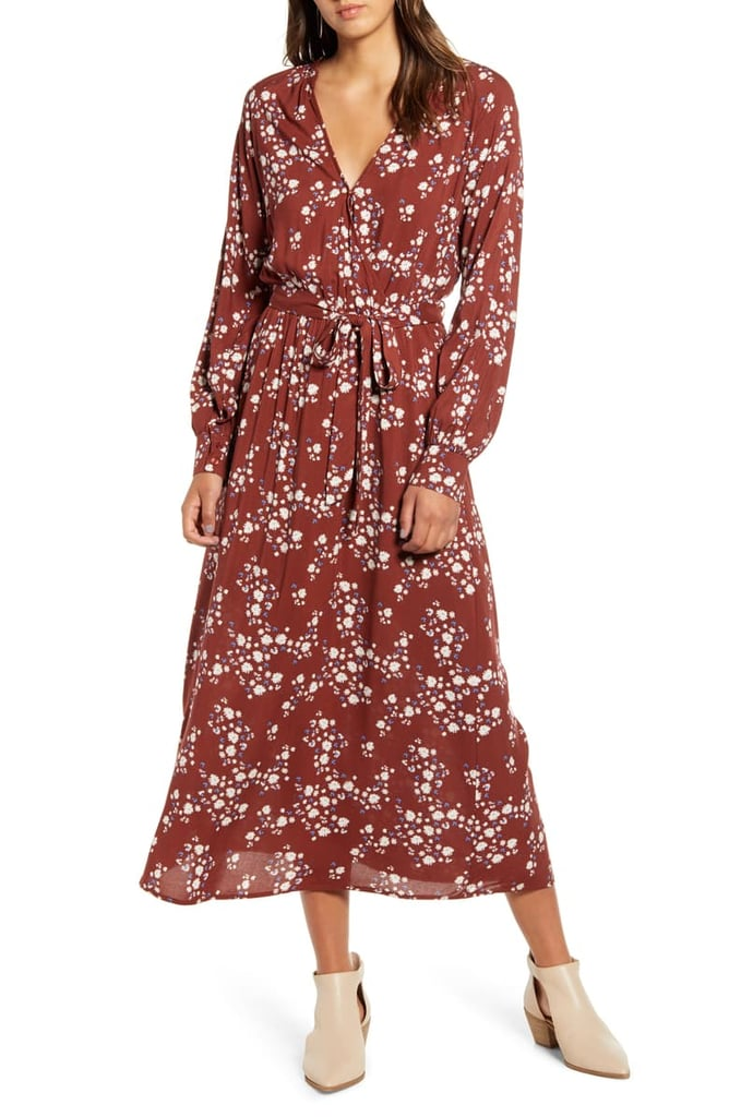 All in Favour Floral Print Long Sleeve Midi Dress | Best