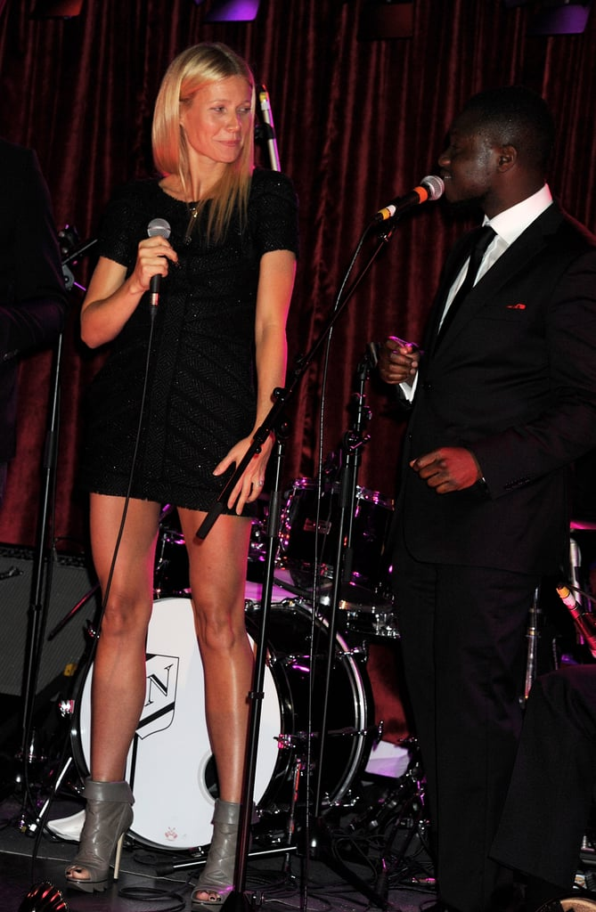 Gwyneth Paltrow performed with the Knights Before in London.