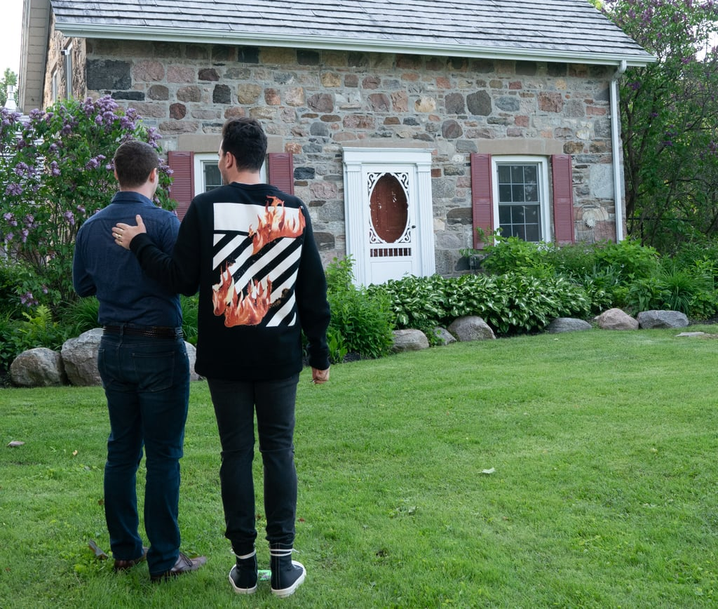 The back features diagonal black and white stripes and even more flames to mirror David and Patrick's fiery love.
