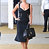 Wearing a Jonathan Simkhai dress with Jimmy Choo heels and a Céline handbag.