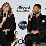 Chrissy Teigen let out a good laugh with Jussie Smollett at the 2015 Billboard Music Awards finalists announcement in LA on Tuesday.