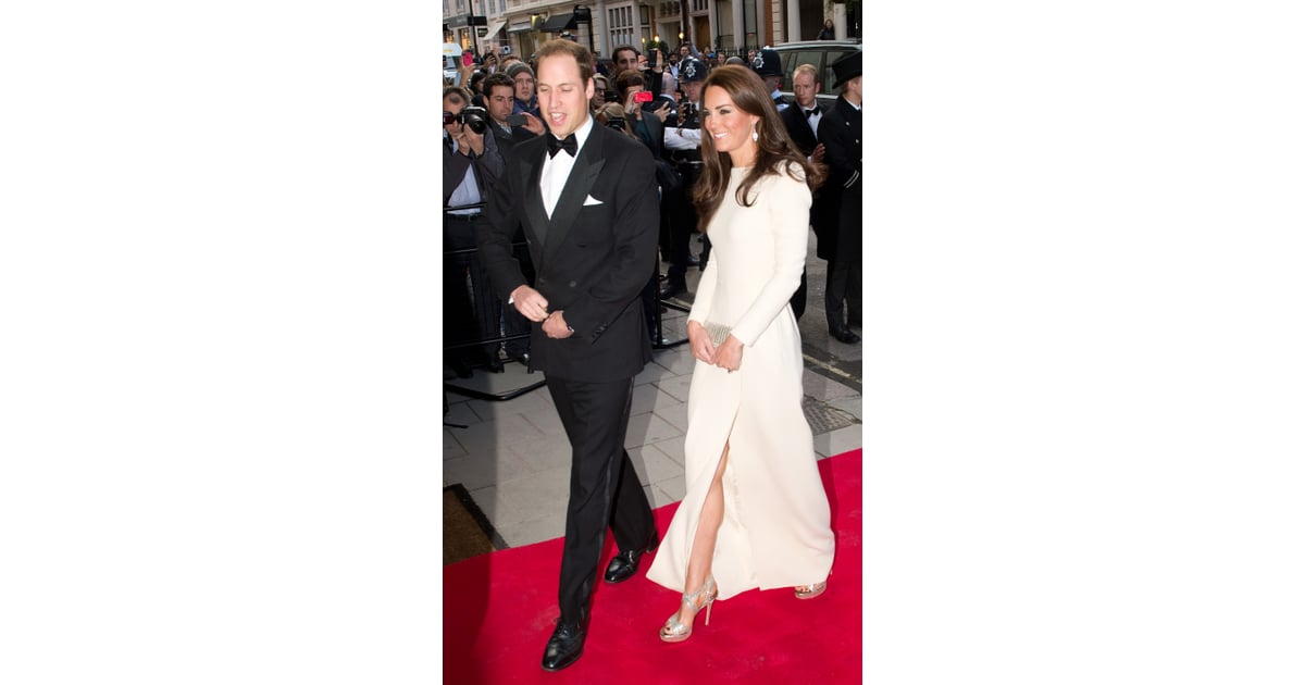 The Gorgeous Couple Made Their Way Down The Red Carpet U2014 We Love How | Kate  Middleton White Slit Dress Roland Mouret | POPSUGAR Fashion Photo 2