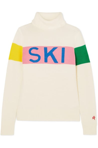 Perfect Moment Intarsia Merino Wool Turtleneck Sweater