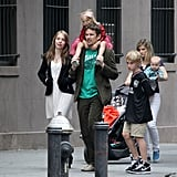 Ethan Hawke had all his kids, Clementine Jane, Indiana, Levon, and Maya, together in NYC.