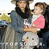 Jessica Alba carried little Haven through LAX on Friday.