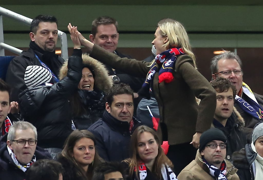 Diane Kruger gave out high fives at a soccer game.