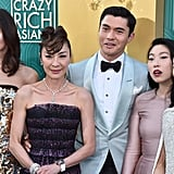 Pictured: Gemma Chan, Michelle Yeoh, Henry Golding, Awkwafina, and Constance Wu