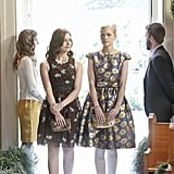 In this week's episode, Lemon and Annabeth blossomed in two different but equally adorable floral dresses. Lemon went bright in a cobalt and gold number designed by Hart of Dixie stylist Meredith Markworth-Pollack, complete with a sequined J.Crew clutch, while Annabeth opted for a more earthy palette in this Plenty by Tracy Reese printed Tea Dress ($50, originally $198), nude Via Spiga Mary Janes, and a perforated Inge Christopher clutch.