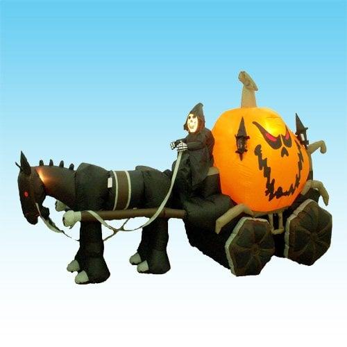 Grim Reaper Driving Pumpkin Carriage