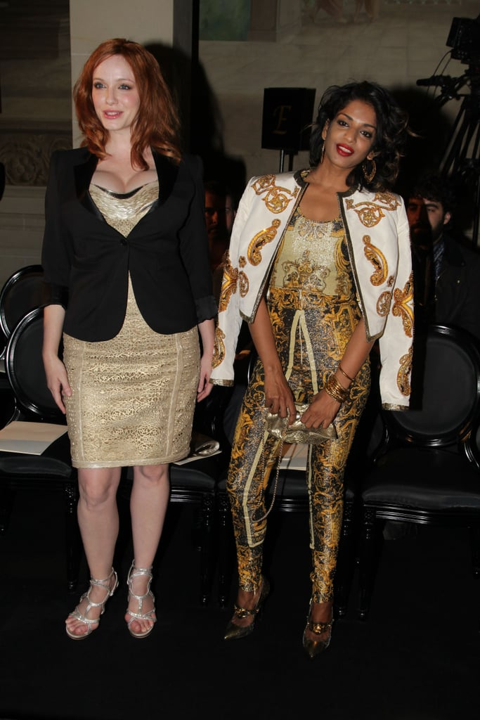 Christina Hendricks linked up with M.I.A at the Versace show for Paris Fashion Week.