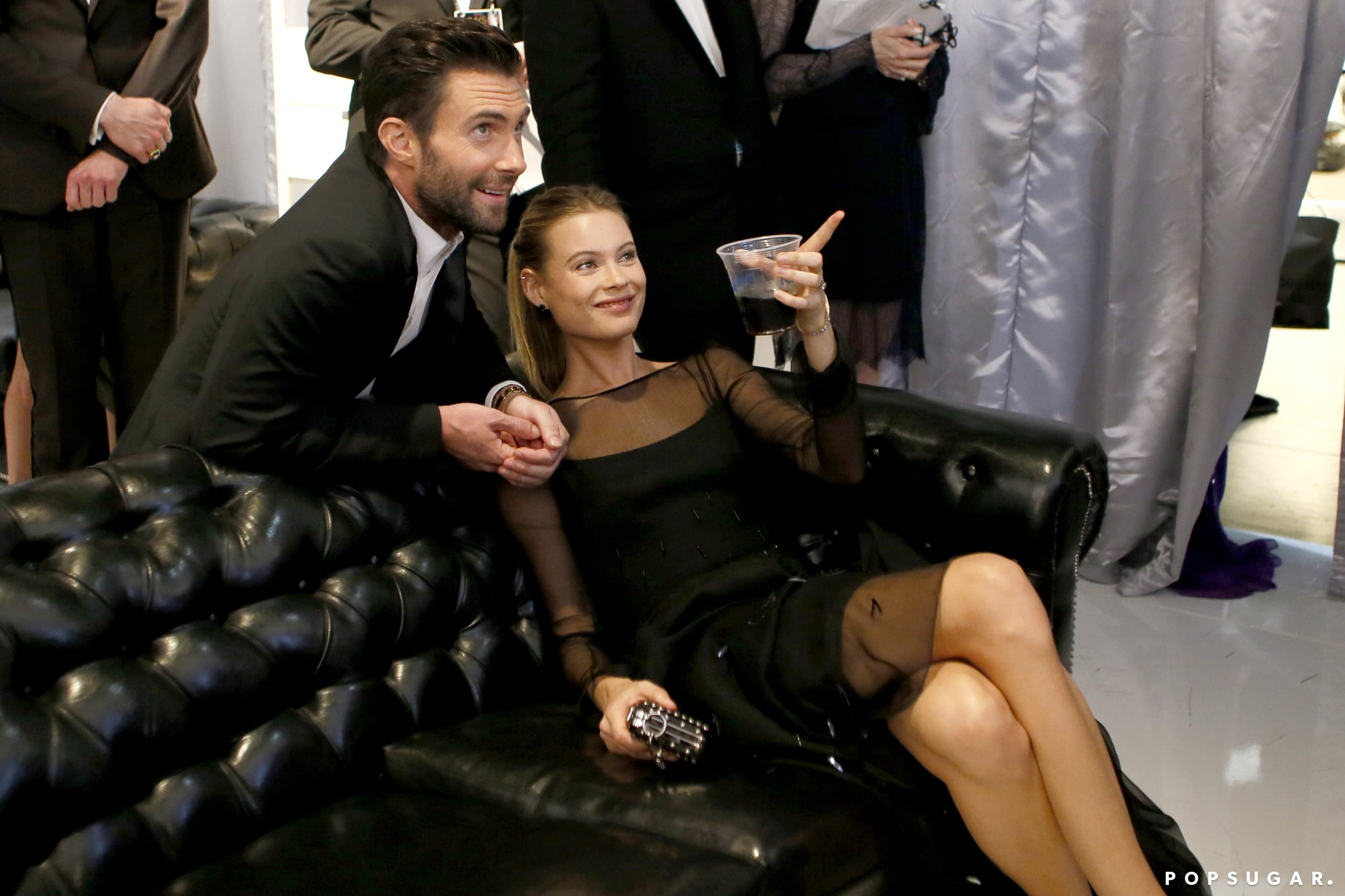 Adam Levine and Behati Prinsloo shared a relaxing moment.