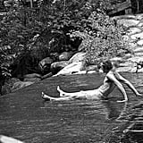 Dr. Leary chills on the dam for the Dieterich Pond on the Hitchcock Cattle Corporation estate.