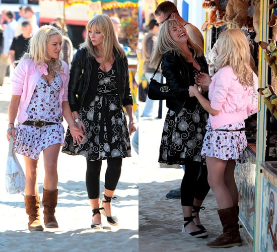 Eastenders' Ronnie and Roxy a.k.a. Samantha Janus and Rita Simons Filming in Weymouth, Devon