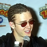 Justin showing off cornrows in 2000.